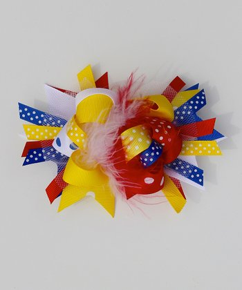 Red & Yellow Bow Clip