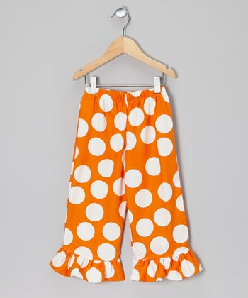 Orange & White Polka Dot Ruffle Pants - Infant, Toddler & Girls