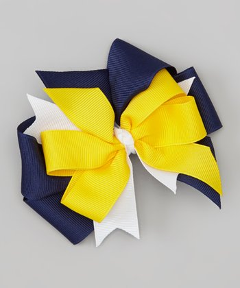 Navy & Yellow Varsity Bow Clip