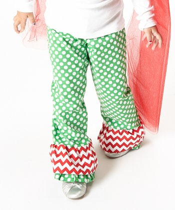 Green & White Ruffle Polka Dot Pants - Infant, Toddler & Girls