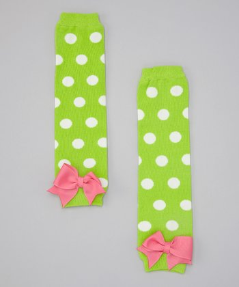 Lime & Pink Polka Dot Bow Leg Warmers