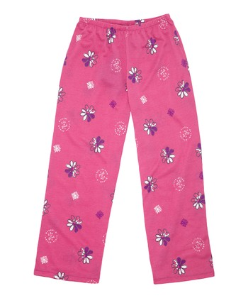 Hot Fuchsia Watercolor Daisy Pajama Pants - Toddler & Girls