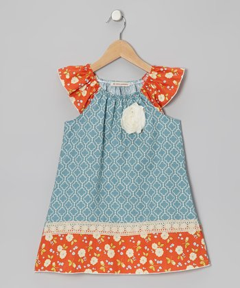 Dusty Blue Angie Angel-Sleeve Dress - Toddler & Girls