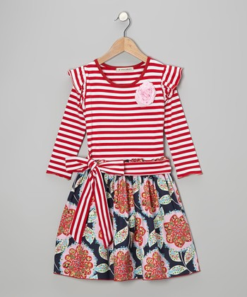 Red & Navy Melissa A-Line Dress - Toddler & Girls