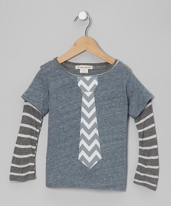 Dark Gray Zigzag Tie Layered Tee - Toddler & Boys