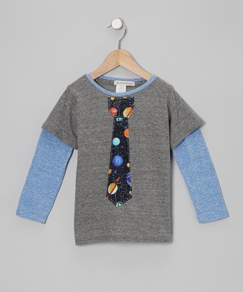Heather Gray Mr. Science Guy Tie Layered Tee - Toddler & Boys