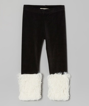 Black & White Velour Shaggy Leggings - Toddler & Girls
