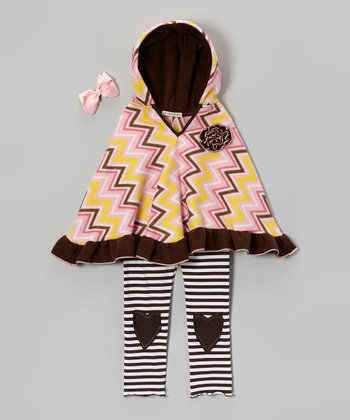 Pink Sugar & Spice Zigzag Poncho Set - Infant, Toddler & Girls