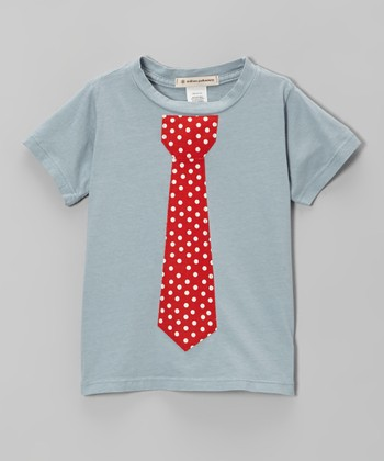 Gray & Red Polka Dot Tie Tee - Infant, Toddler & Boys