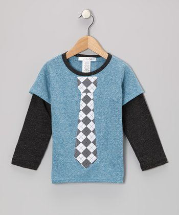 Blue Argyle Tie Layered Tee - Toddler & Boys