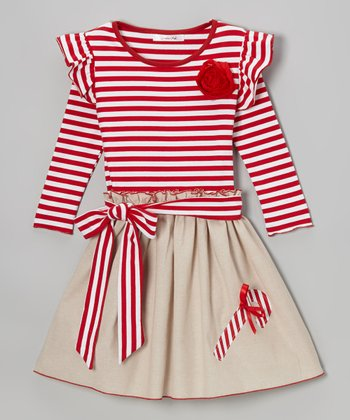 Red Candy Cane A-Line Dress - Toddler & Girls