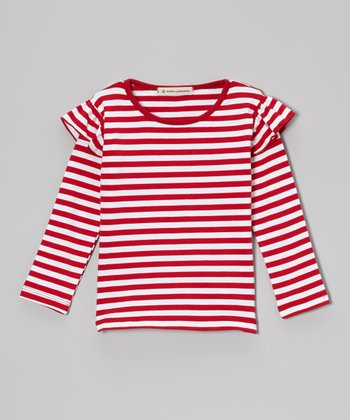 Red Stripe Ruffle Tee - Infant, Toddler & Girls