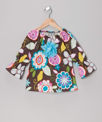 Brown Crazy Flower Peasant Top - Toddler & Girls
