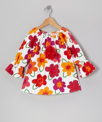 Red Flower Peasant Top - Toddler & Girls