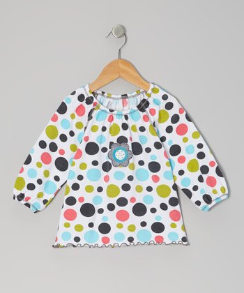 Bold Rainbow Polka Dot Peasant Top - Toddler & Girls