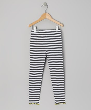 Charcoal Stripe Leggings - Toddler & Girls