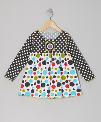 Charcoal & Bold Rainbow Polka Dot Top - Toddler & Girls