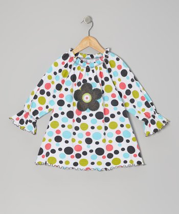 Bold Rainbow Polka Dot Peasant Swing Top - Toddler & Girls