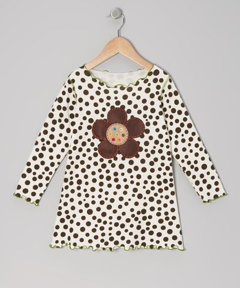 Cream & Brown Polka Dot Top - Toddler & Girls