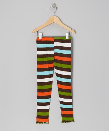 Green & Orange Rainbow Stripe Leggings - Toddler & Girls