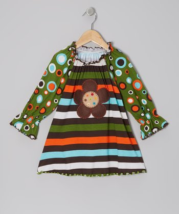Green & Rainbow Stripe Peasant Top - Infant, Toddler & Girls