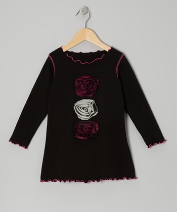 Black Rosette Top - Toddler & Girls