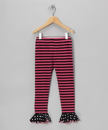 Black & Pink Stripe Ruffle Leggings - Infant, Toddler & Girls