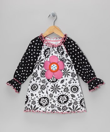 Black & White Flower Fringe Peasant Top - Infant, Toddler & Girls