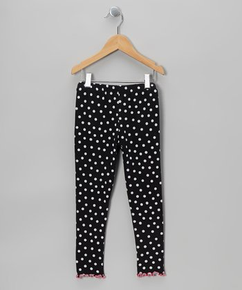 Black Polka Dot Leggings - Toddler & Girls