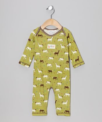 Green Horse Playsuit - Infant