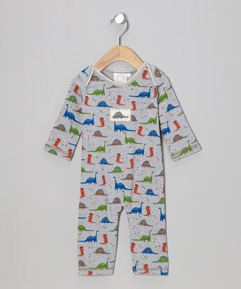 Gray Dinosaur Playsuit - Infant