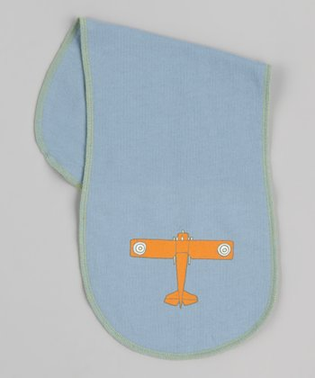 Blue Airplane Burp Cloth