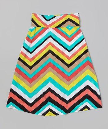 Mint Zigzag Maxi Skirt - Girls
