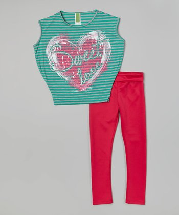 Mint Stripe 'Sweet Love' Top & Pink Leggings - Girls