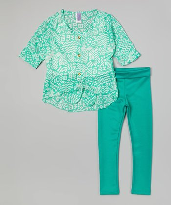 Mint Abstract Hi-Low Button-Up Top & Leggings - Girls