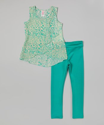 Mint Abstract Wrap Top & Leggings - Girls