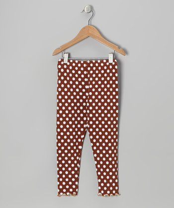 Brown Polka Dot Leggings - Toddler & Girls