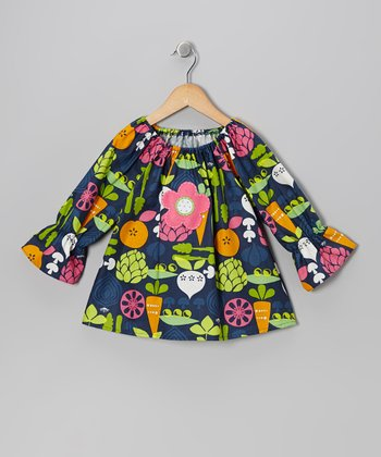 Navy Veggie Peasant Top - Toddler & Girls