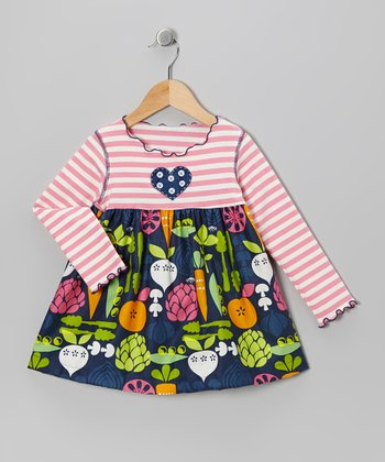Navy Veggie Swing Top - Toddler & Girls