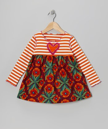 Orange & Eggplant Floral Swing Top - Toddler & Girls