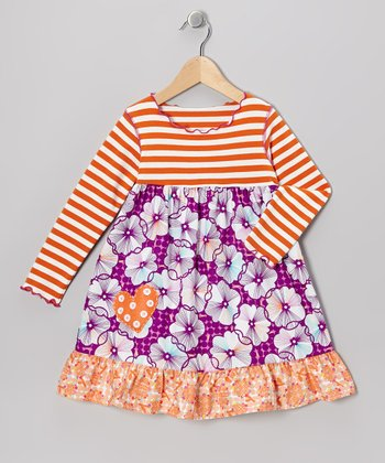 Magenta & Burnt Orange Flower Ruffle Dress - Toddler