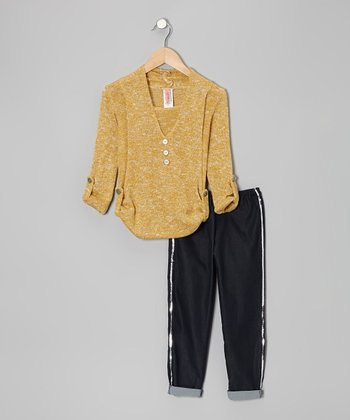 Stone Yellow Top & Black Sequin Pants