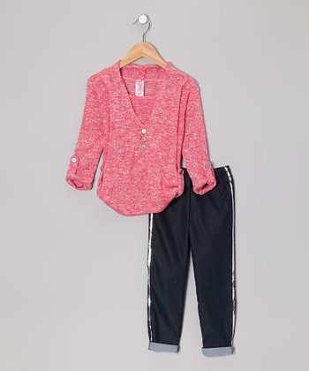 Stone Pink Top & Black Sequin Pants