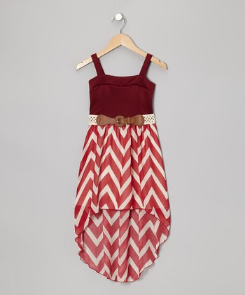 Burgundy Zigzag Belted Hi-Low Dress