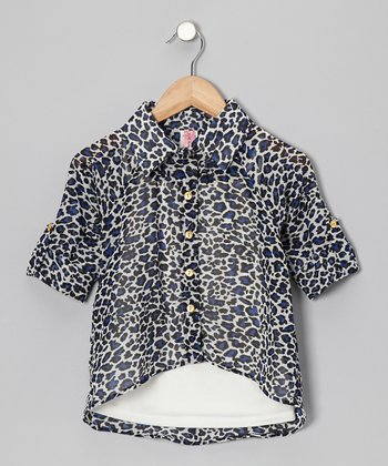 Royal Leopard Hi-Low Button-Up & Camisole - Girls