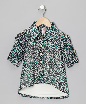 Mint Leopard Hi-Low Button-Up & Camisole