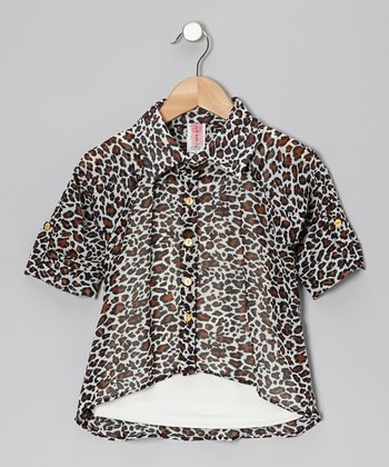 Brown Leopard Hi-Low Button-Up & Camisole - Girls