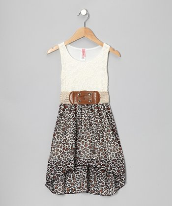 White & Brown Lace Leopard Hi-Low Dress