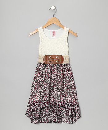 White & Pink Lace Leopard Hi-Low Dress