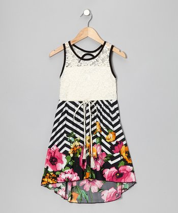 Black Lace Zigzag Floral Hi-Low Dress